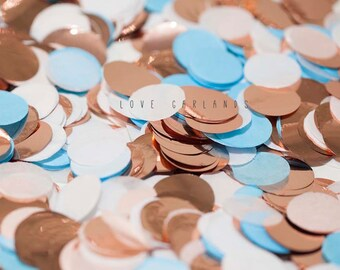 Light Blue White Rose Gold Round Confetti, Light Blue Rose Gold Circle Confetti, Baby Shower Confetti, Rose Gold Confetti, Balloon Confetti