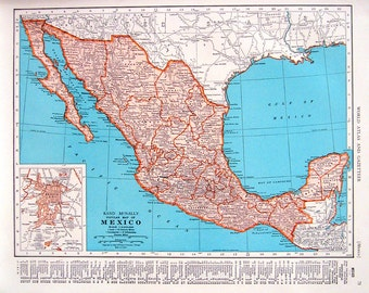 1944 Vintage Map  - Mexico Map, Central America Map - 2 Sided World Atlas Book Page - 11 x 14