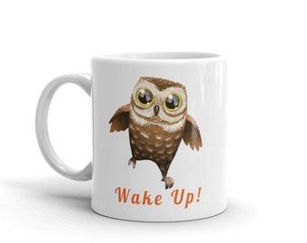 Adorable Wide Eyed Owl Wake Up Coffee Mug