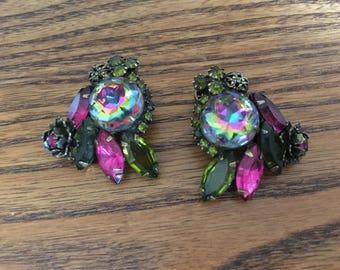 Vintage Watermelon, Fuchsia and Olivine Green Rhinestone Earrings 1439
