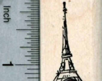 Tiny Eiffel Tower Rubber Stamp, Paris France, World Travel Series A33217 Wood Mounted
