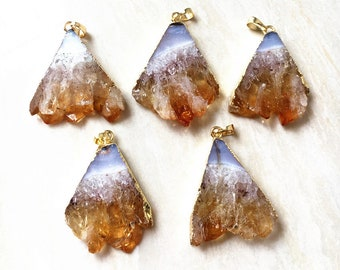 Triangle Citrine Pendants // Gold Citrine // Quartz Druzy Pendant // Citrine necklace // Chakra necklace // Irregular stone jewelry B989