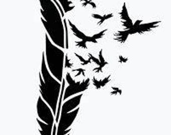 Feather Birds Wings Stencil handcut