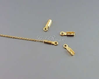 50 pcs of shiny gold plated crimp connector, crimp bead, chain end, chain connector, crimper beads B136-BG