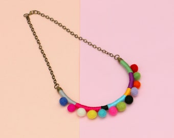 Colorful Pom Pom Necklace, Felt Necklace, Statement Rope Necklace, Necklaces For Women, Girls Necklace
