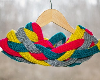 Bright and Cheerful Braided Crochet Circle Scarf