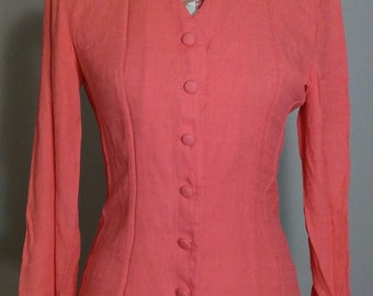 Vintage 80s Sheri Martin Salmon Tailored Blouse Size 6