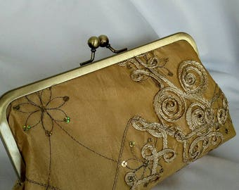 Gold floral sequin wedding evening prom clutch purse BBsCustomClutches