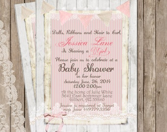 Rustic Baby Shower Invitation, Shabby, Lace, Digital, Printable, Customize, 5x7