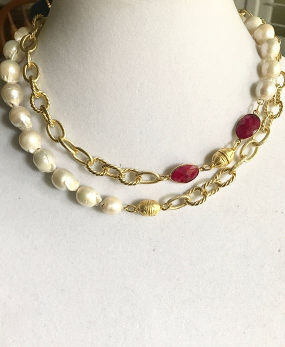 """Pearl Necklace, Baroque Pearl Necklace, Big Drop Pearl Necklace, Pearl & Ruby Necklace, Double Wrap Necklace, 22K Gold Plated, 40"""" Long"""