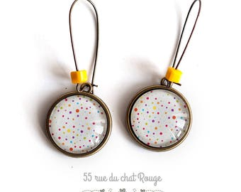 Cabochon earrings, Pearl yellow, colorful, multicolor dots,