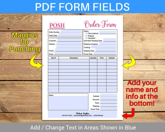 Perfectly Posh Order Form Invoice Sales Sheet Receipt - Fillable invoice template free online yarn stores