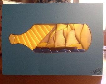 Fancy Folded ship in a bottle