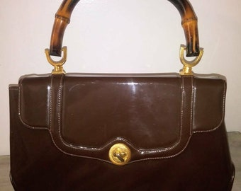 Vintage Meyer Brown Patent Leather Purse with Bamboo Handle