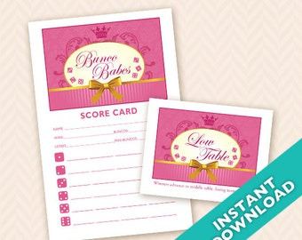Bunco Babes Printable Bunco Score and Table Card Set (a.k.a. Bunko, score card, score sheet)