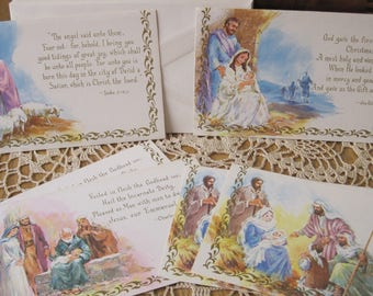 Six Unused Vintage Christian Christmas Cards from Sunshine with Envelopes