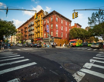 Intersection of Bedford Avenue and Sixth Street in Williamsburg, Brooklyn, New York. Photo Print, Metal, Canvas, Framed.