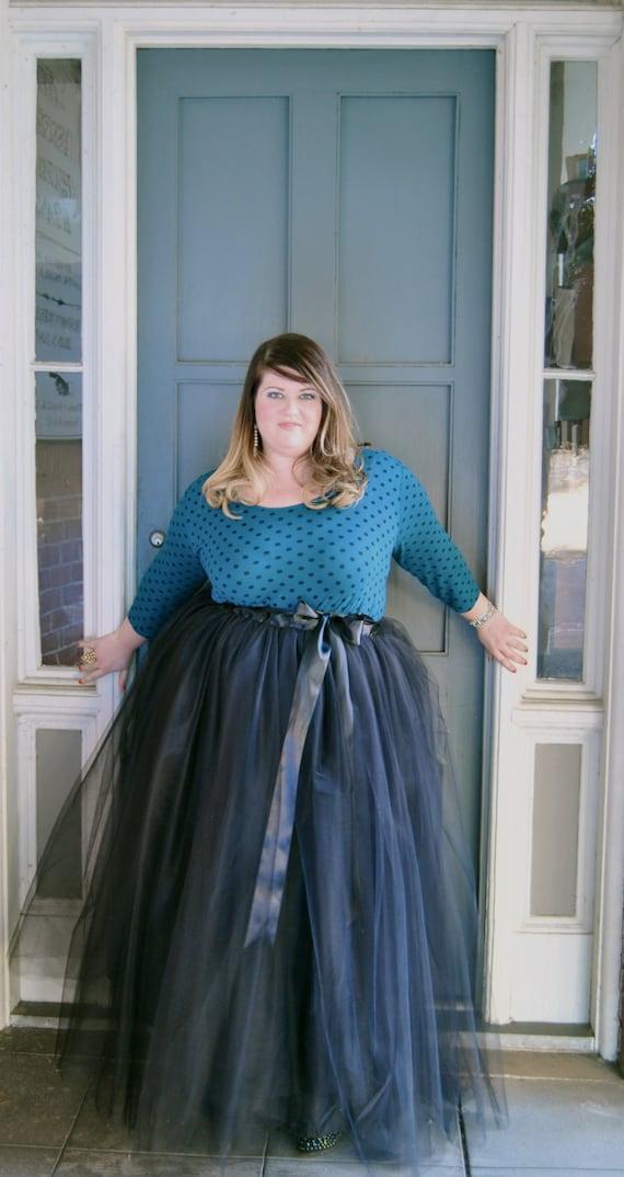 Plus Size Tulle Skirt Floor Length Adult Tutu With Satin