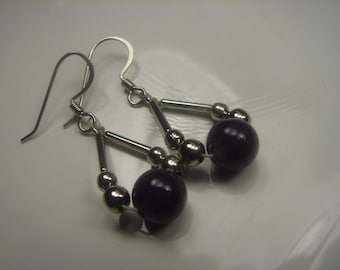 Amathyst Bead Sterling Dangle Earrings -Dangle 1.5 in from the hole 61