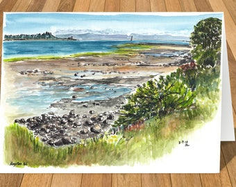 Art Card of Royston, Vancouver Island, BC, Canada Watercolour Print