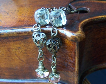 Vintage Romance Inspired Glass Jewel Heart Earrings