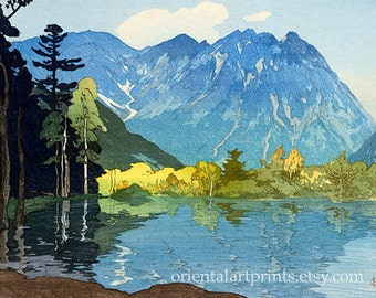 Japanese Fine Art Reproduction, Home Decor, Wall Art Print, Woodblock Landscape Vintage Illustration Print, Office Decor, Mountain Scenery