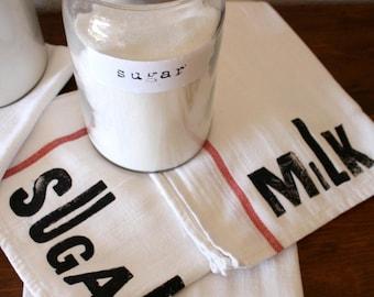 Farmhouse Decor Rustic Country / Tea Towels - Letterpress - Country - Farm - French Country - Dish Towels - Milk Flour Egg Sugar