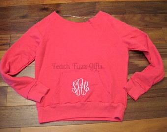 Monogrammed Pullover Sweatshirt, Off the Shoulder Sweatshirt, Personalized Shirts for Women, Activewear