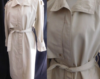 Classic Vintage London Fog TRENCH COAT Khaki Taupe Double Breasted Button Belted RAINCOAT Ladies Long Length 10 Reg