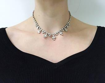 Beautiful Vintage 1950s Diamante Crystal Necklace
