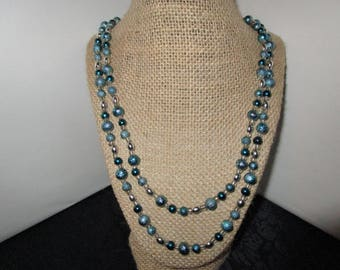 Round Turquoise Pearl Necklace