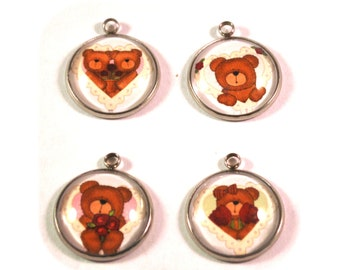 Teddy Bear Charms, Bracelet Charms, Bear Charms, Bear Beads, Necklace Charms, 20mm Charms, Valentines Charms, Valentines Beads