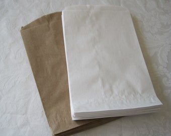 50 Paper Bags, Brown Paper Bags, White Paper Bags, Candy Bags, Kraft Paper Bags, Gift Bags, Party Favor Bags, Paper Gift Bags 6x9