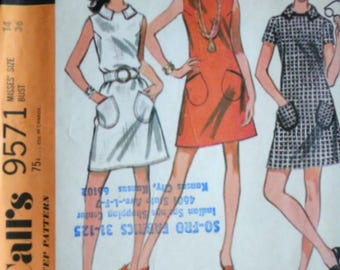 Vintage 60's McCall's 9571 Sewing Pattern, Misses' Dress in Three Versions, Size 14, 36 Bust, Mad Men Mod 1960's Fashion