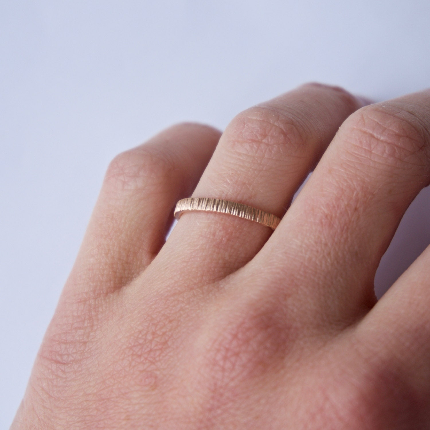 Rose Gold Tree Bark Ring - 18 Carat