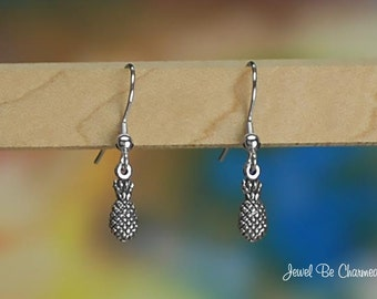 Tiny Pineapple Earrings Sterling Silver Fishhook Earwires Solid .925