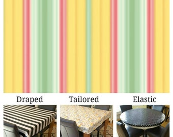 Laminated cotton aka oilcloth tablecloth custom size and fit choose elastic, tailored, or draped Heather Bailey Freshcut Lounge Stripe Gold