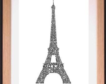 Personalised Eiffel Tower Word Art Gift