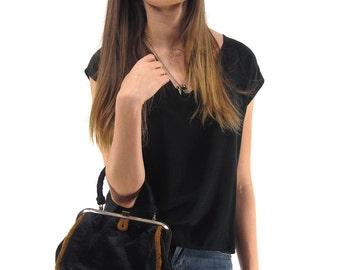 60s Mod Purse, Vintage 60s Purse, Velour Handbag, Black Velvet Purse, Mod Velvet Purse