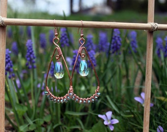 RESERVED KAREN W Hammered Copper Wire Earrings Wrapped Faceted Glass Sparkly Beads