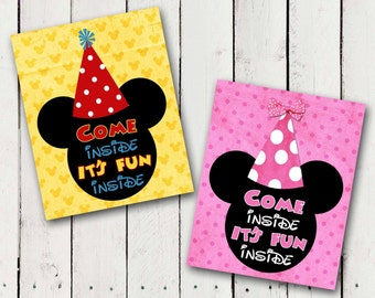 "Mickey or Minnie Mouse ""Come inside it's fun inside"" Door Birthday Printable"