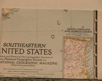 1947 Vintage National Geographic Map of the Southeastern United States, Map and Globe, vintage map ephemera, paper map ephemera