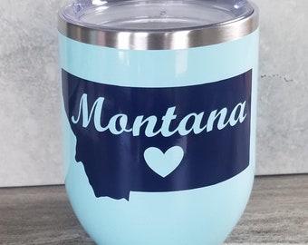 12 oz Montana Heart Seafoam Blue Wine Tumbler