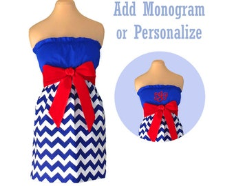 Red + Blue Chevron Dress