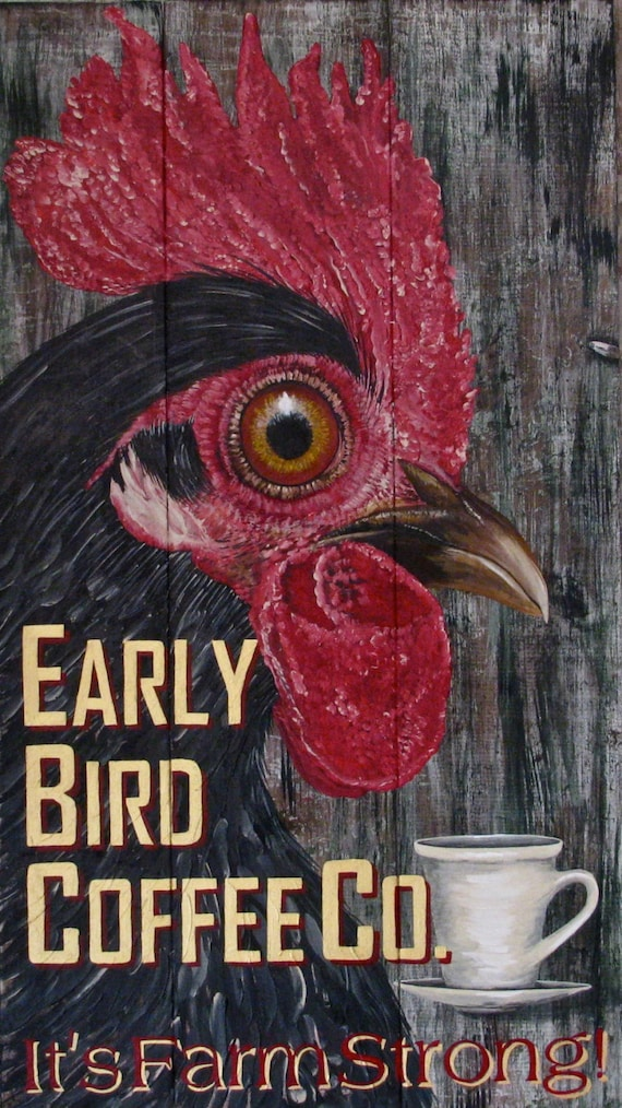 Rooster original acrylic painting Farm Illustration Early Bird Coffee Co. on solid wood plank panels