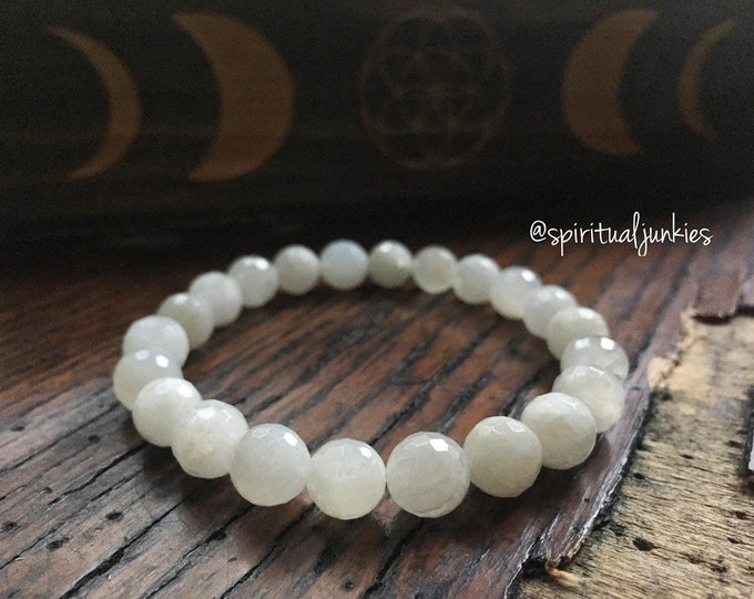 Moonchild | Faceted Moonstone | Spiritual Junkies | Yoga + Meditation | Stackable Mala Bracelet