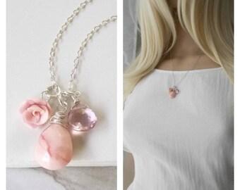 Pink Peruvian Opal and Pink Quartz Gemstone Necklace. Rose, blush pink, Bridesmaids