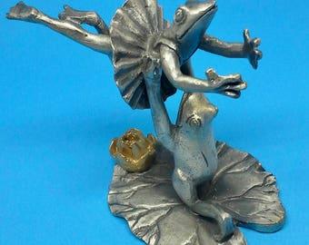 Pewter frog figurines ballerina vintage, from SPI 1993