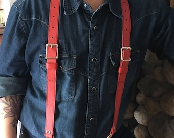 """Leather Suspenders 1"""" Red"""