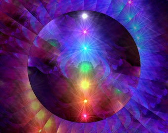 "Chakra Art, Rainbow Decor, Reiki Energy Art Print ""Chakra Healing"""